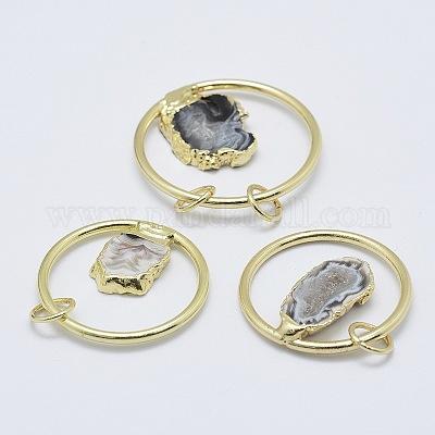 Round Cluster Pendant Agate Druzy Pendant PG0937I Round Druzy Pendant 18K Gold Natural Purple