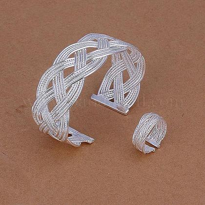 Silver Color Plated Brass Wedding Party Jewelry SetsSJEW-BB11212-1