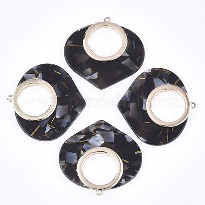 セルロースアセテート(樹脂)ペンダント  合金パーツ  ティアドロップ  ライトゴールド  ブラック  45.5x47.5x4mm  穴:1.8mmX-KY-T006-01A-1
