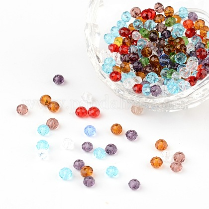 Faceted Rondelle Transparent Glass BeadsGLAA-R152-4mm-M1-1