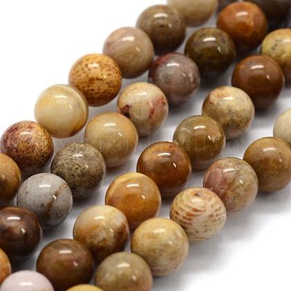 Cuentas de piedra de crisantemo natural hebrasG-G763-12-6mm-1