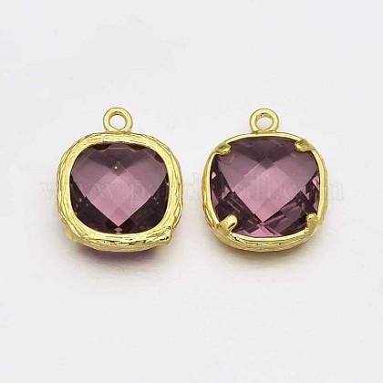 Tono de oro charms de cristal de bronceGLAA-J061-06G-1