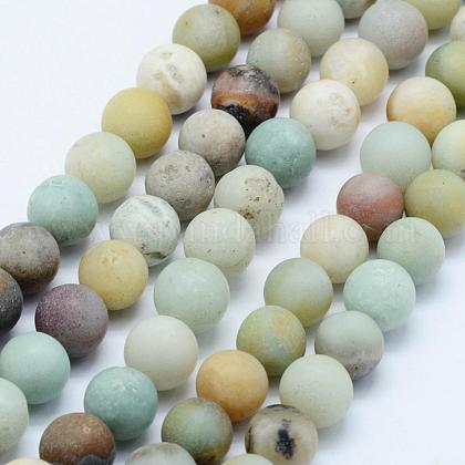 Natural Amazonite Beads Strands G-F518-24-8mm-1