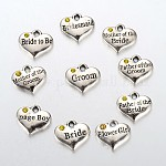 Wedding Party Supply Antique Silver Alloy Rhinestone Heart Carved Word Flower Girl Wedding Family Charms, Topaz, 13.5x16x3mm, Hole: 2.5mm; about 10pcs/set