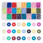 PandaHall Heishi Clay Beads, 5760 Pcs 24 Colors 6mm Vinyl Disc Beads Flat Round Handmade Polymer Clay Beads for Hawaiian Earring Choker Anklet Bracelet Necklace Jewelry Making Summer Surfer