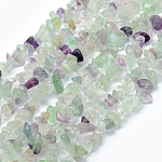 Natural Fluorite Beads Strands, Chip, 5~8mm, Hole: 1mm; about 33''(84cm)
