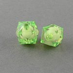 Transparent Acrylic Beads, Bead in Bead, Faceted Cube, Yellow Green, 8x7x7mm, Hole: 2mm; about 2000pcs/500g