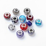 Handmade Lampwork European Beads, Large Hole Beads, Rondelle, Mixed Color, about 14mm wide, 10mm long, hole: 5mm