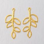 Tibetan Style Alloy Pendants, Lead Free & Nickel Free & Cadmium Free, Leaf, Golden, 38x18x2mm, Hole: 2mm