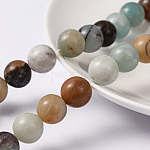 Natural Amazonite Round Bead Strands, 10mm, Hole: 1.2mm; about 38pcs/strand, 15.5