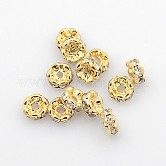 Brass Rhinestone Spacer Beads, Grade AAA, Wavy Edge, Nickel Free, Light Gold Metal Color, Rondelle, Crystal, 6x3mm, Hole: 1mm