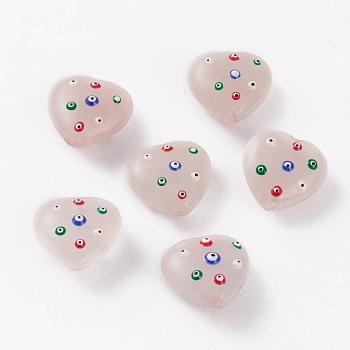 Природного розового кварца бусы, с эмалью, сердце с сглаза, 20~20.2x20.3x9.8~10.5 мм, отверстие : 1.5 мм