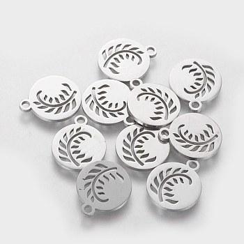 Breloques en 304 acier inoxydable, plat et circulaire avec feuille, couleur inoxydable, 14x12x1mm, Trou: 1.5mm