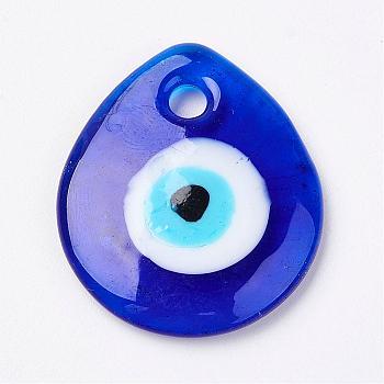 Handmade Lampwork Evil Eye Pendants, Flat Teardrop, Blue, 34x30x5mm, Hole: 4mm
