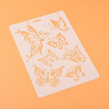 描画ツールプラスチック製図面型板テンプレート  長方形  ちょうの模様  ホワイト  25.5x17.4x0.04cm