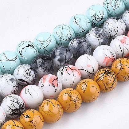 Drawbench & Baking Painted Glass Beads StrandsDGLA-Q024-01-1