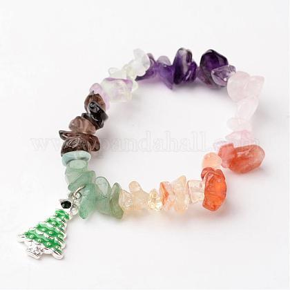 Árbol de navidad de la piedra preciosa natural de los niños pulseras cuentas charmBJEW-JB02248-1
