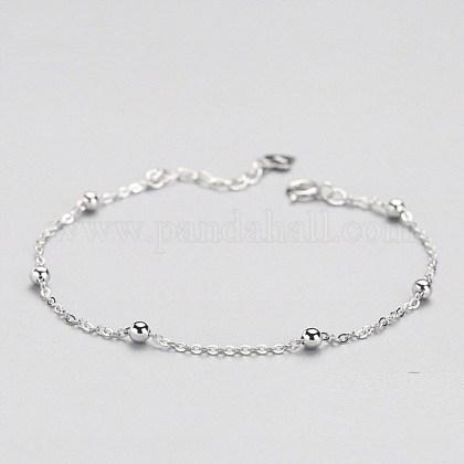 925 pulseras de cadena de cable de plata esterlinaBJEW-BB35522-1