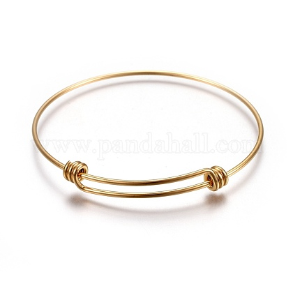 304 Stainless Steel Bangles BJEW-F357-01G-1