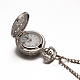 Alloy Flat Round with Spider Web Pendant Necklace Pocket WatchWACH-N013-03-2