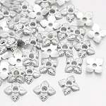 Tibetan Style Bead Caps, Cadmium Free & Lead Free, Flower, Silver Color Plated, 6x6x2mm, Hole: 1mm
