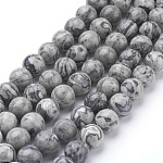 Natural Map Stone/Picasso Stone/Picasso Jasper Beads Strands, Round, 8mm, Hole: 1mm; about 46pcs/strand, 15.5