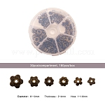 Tibetan Style Alloy Bead Caps, Flower, Mixed Style, Antique Bronze, 6~10x2~4mm, Hole: 1~1.8mm; about 30pcs/compartment, 180pcs/box