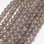Hilo de abalorios de ágata naturales, facetados, redondo, gris_oscuro, 10 mm; agujero: 1.2 mm, aproximamente 38 pcs / cadena, 15