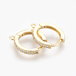Brass Micro Pave Cubic Zirconia Huggie Hoop Earring Findings, Nickel Free, Clear, Golden, 16x14x2mm, Hole: 1mm; Pin: 1mm