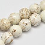 ラウンド天然ターコイズビーズ連売り, 乳白色, 10mm, 穴:1mm、約40個/連, 15.7インチ