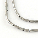 Column Electroplated Non-magnetic Synthetic Hematite Beads Strands, Platinum Plated, 13x4mm, Hole: 1mm, about 31pcs/strand, 15.7 inches