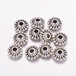 Tibetan Style Spacer Beads, Lead Free and Cadmium Free, Bicone, Antique Silver, about 11mm in diameter, 5mm thick, hole: 3mm