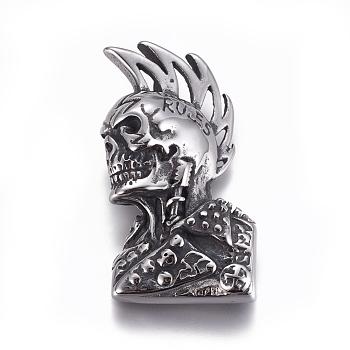 Ретро 304 из нержавеющей стали подвески, человеческий скелет, античное серебро, 48x27.5x6 мм, отверстие : 4x6 мм