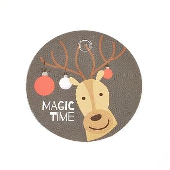 Etiquetas de regalo de papel, etiquetas de suspensión, para manualidades, para la Navidad, plano redondo con patrón de renos / ciervos navideños, colorido, 30x0.3mm, agujero: 3 mm