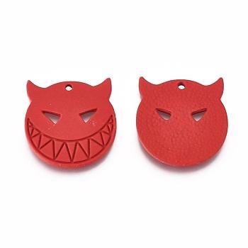 Подвески из сплава , выпечка окрашены, для Хэллоуина, зло, красные, 20.5x19.5x1.5 мм, отверстие : 1.5 мм