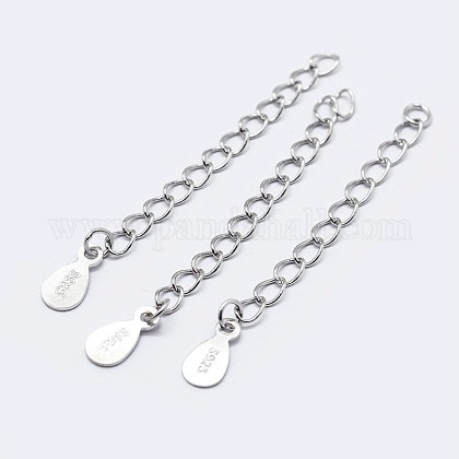 925 Sterling Silver End with Extender Chains and Drop CharmsX-STER-F036-26S-40mm-1