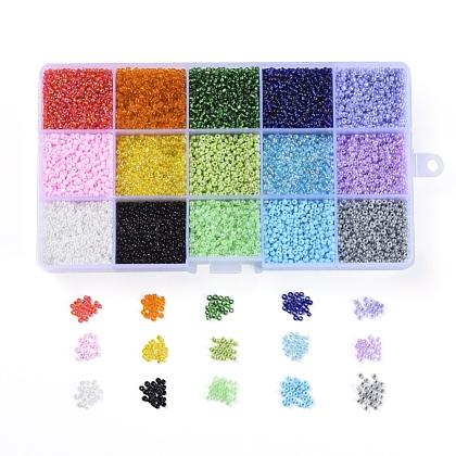 15 Colors 12/0 Glass Seed BeadsSEED-X0052-04-2mm-1
