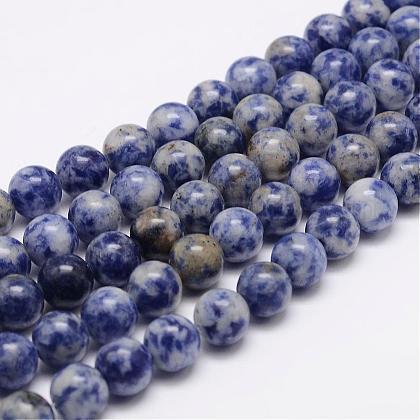 Natural Blue Spot Jasper Bead StrandsG-K153-B07-8mm-1