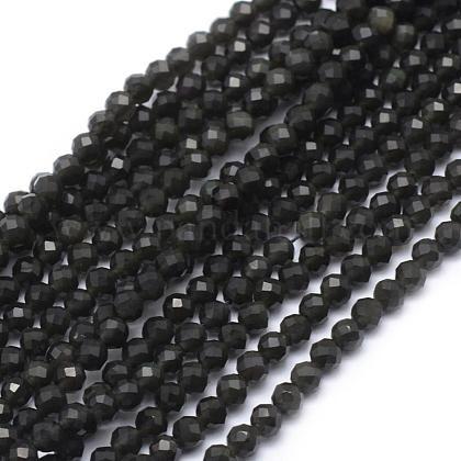 Natural Obsidian Beads StrandG-E411-33-3mm-1