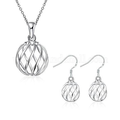 Silver Plated Brass Jewelry Sets for WomenSJEW-BB00808-1