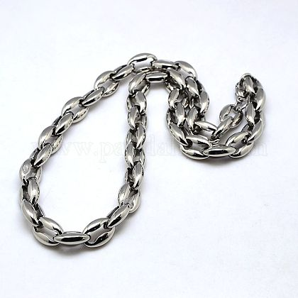 Fashionable 304 Stainless Steel Coffee Bean Chain NecklacesNJEW-I008-27-1
