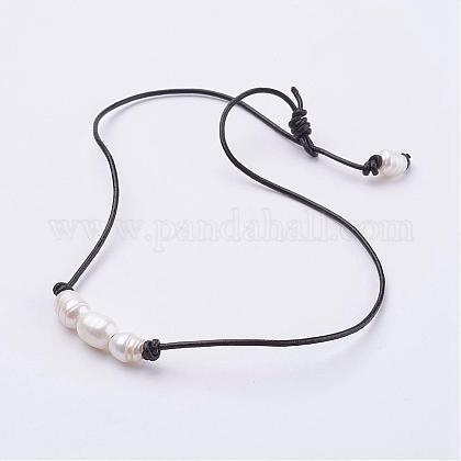 Grade B Natural Freshwater Pearl NecklacesNJEW-JN01890-1