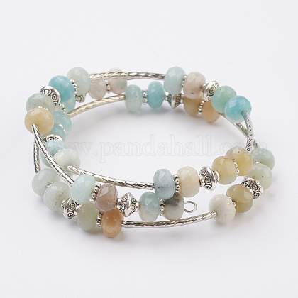 Natural Amazonite Beads Wrap Bangles BJEW-JB03578-04-1