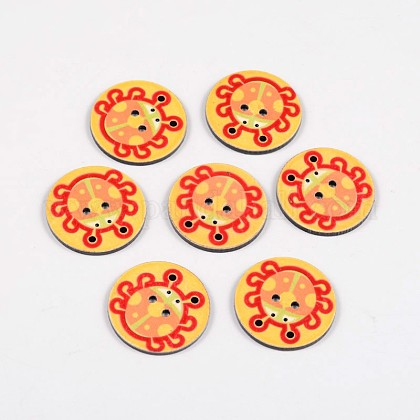 2-Hole Flat Round with Ladybird Pattern Acrylic Buttons BUTT-F055-06C-1