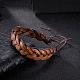 Pulseras de cuero trenzadas ajustables unisex ocasionalesBJEW-BB15584-2