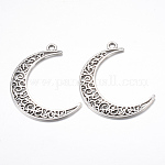 Tibetan Style Alloy Pendants, Crescent Moon, Cadmium Free & Lead Free, Antique Silver, 40x29x1mm, Hole: 2.5mm; about 440pcs/1000g