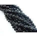 Синтетических черный камень бисер нитей, окрашенные, граненые круглые, чёрные, диаметром около 4 мм , отверстие : 0.8 мм