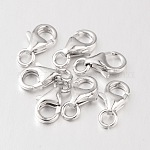 Sterling Silver Lobster Claw Clasps, Platinum, 8.6x6mm, Hole: 4mm