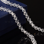 Half-Handmade Transparent Glass Beads Strands, Bicone, Clear, 4mm, Hole: 1mm; about 70pcs/strand, 10.63