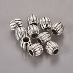 Tibetan Style Corrugated Beads, Lead Free and Cadmium Free, Barrel, Antique Silver, about 9mm in diameter, 9.5mm thick, hole: 3.8mm